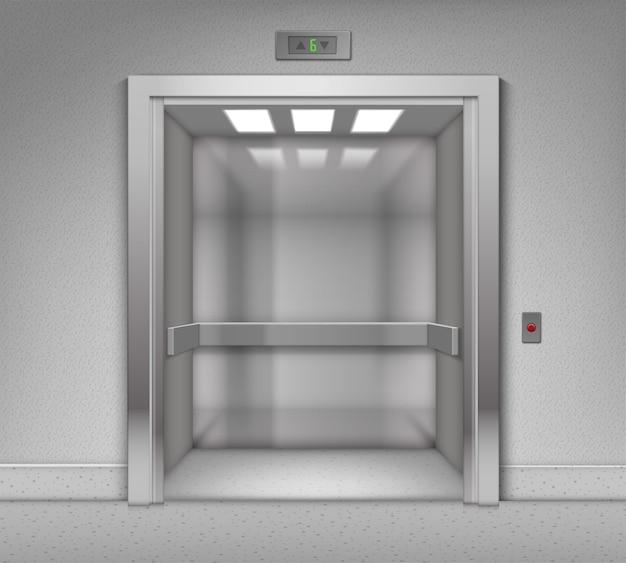 Ascenseur Réaliste Bâtiment Bureau Métal Chrome Ouvert Vectoriel Vecteur Premium