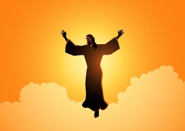 Ascension de jésus christ Vecteur Premium