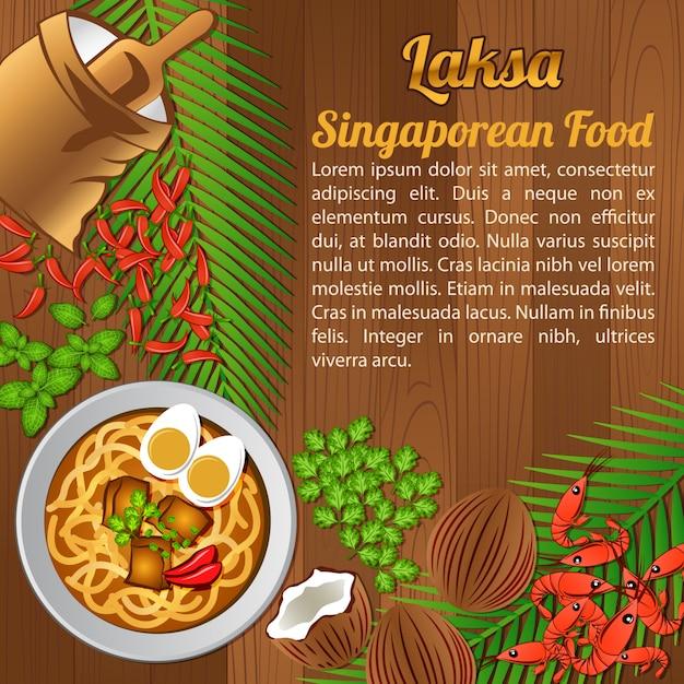Asean national food, singapour Vecteur Premium