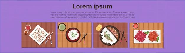 Asiatique, cuisine, sushi, coréen, plats thaïlandais, haut, angle, vue, modèle, fond, bannière horizontale Vecteur Premium