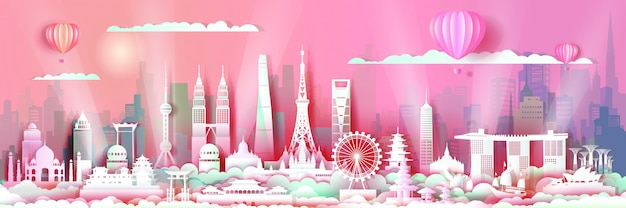 Asie Avec La Ligne D'horizon De L'architecture Du Centre-ville Vecteur Premium