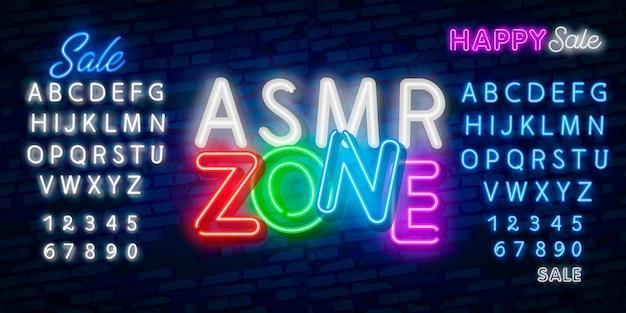 Asmr neon text Vecteur Premium