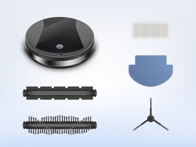 Aspirateur robot rond avec pièces de rechange, robot intelligent avec pièces de rechange pour réparation Vecteur gratuit