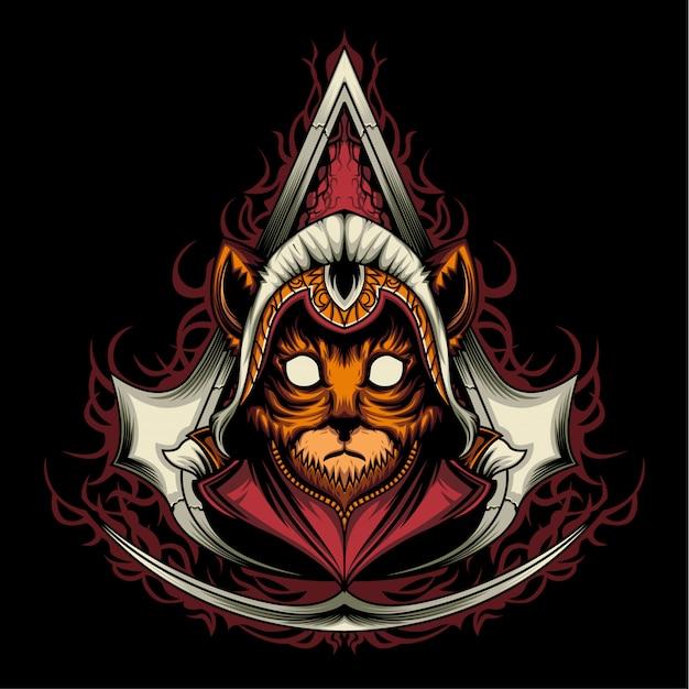 Assassin creed kitten Vecteur Premium