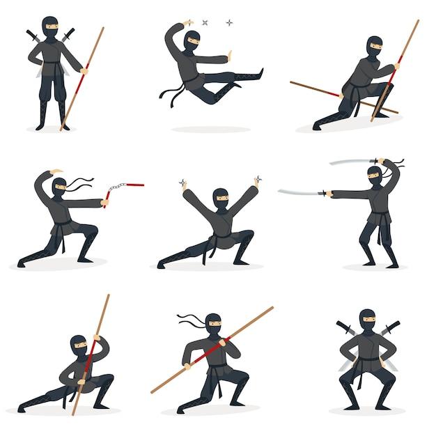 Assassin Ninja Japonais En Costume Noir Complet Effectuant Des Postures D'arts Martiaux Ninjitsu Avec Différentes Armes Ensemble D'illustrations. Vecteur Premium