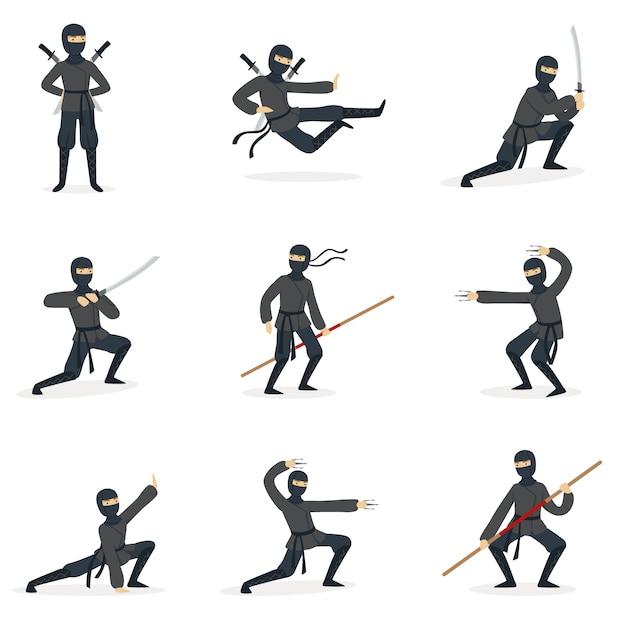 Assassin Ninja Japonais En Costume Noir Complet Effectuant Des Postures D'arts Martiaux Ninjitsu Avec Différentes Armes Série D'illustrations. Vecteur Premium
