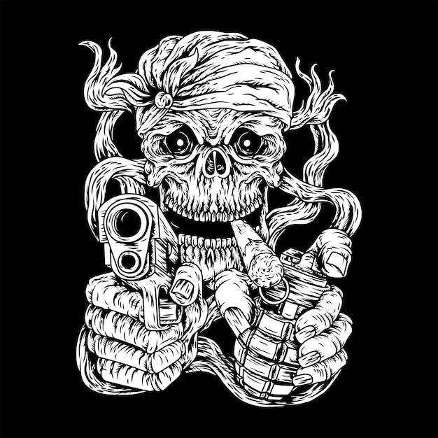 Assassin skull, tueur par humain Vecteur Premium