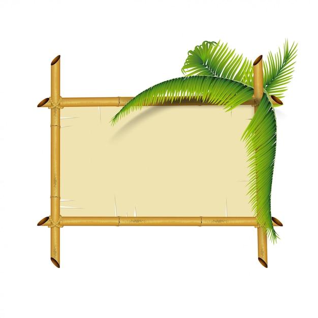 Assiette en bambou isolé sur blanc Vecteur Premium