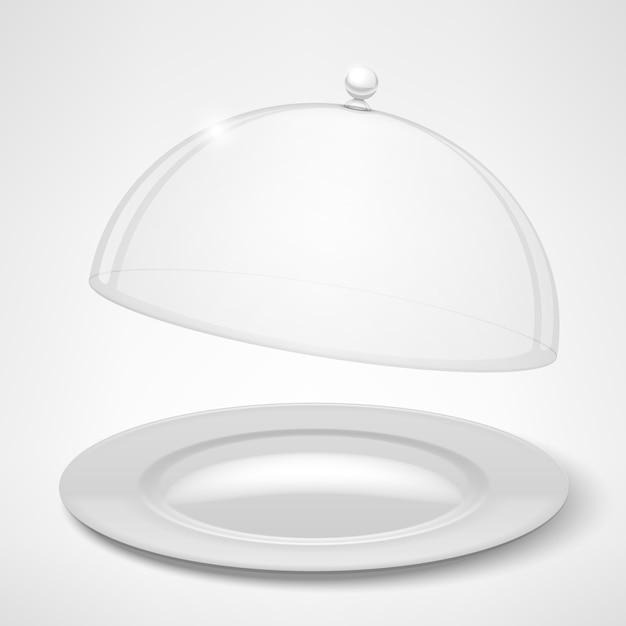 Assiette Blanche Et Couvercle Transparent Vecteur gratuit