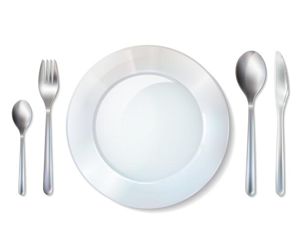Assiette et couverts réaliste set image Vecteur gratuit
