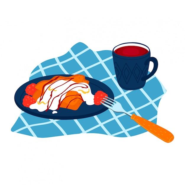 Assiette Crêpes Maison Avec Sauce Au Yogourt à La Crème, Garniture Framboise Savoureuse Beignet Isolé Sur Blanc, Illustration De Dessin Animé. Vecteur Premium