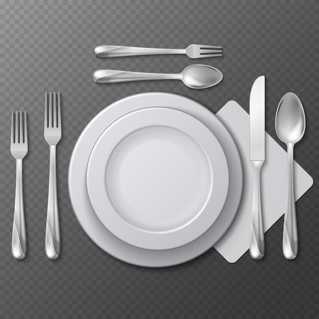 Assiette ronde vide réaliste Vecteur Premium