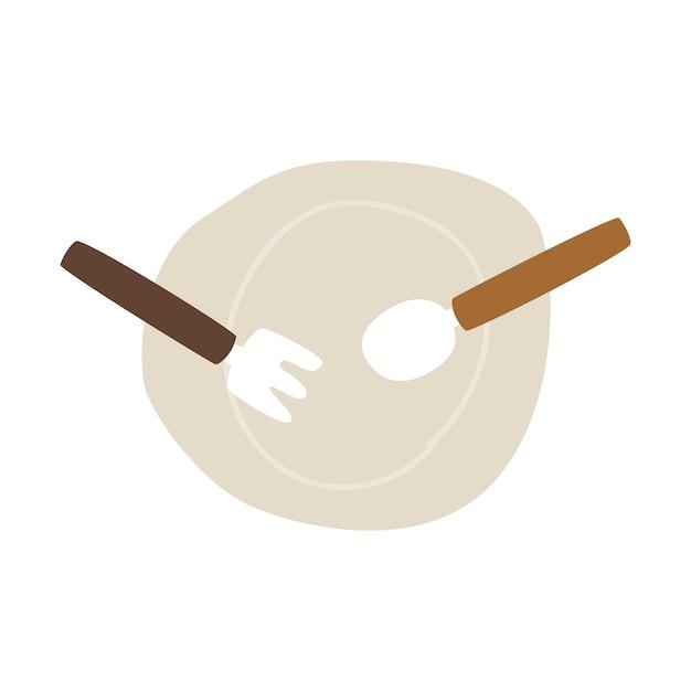 Assiette vide avec le vecteur fourchette et cuillère Vecteur gratuit