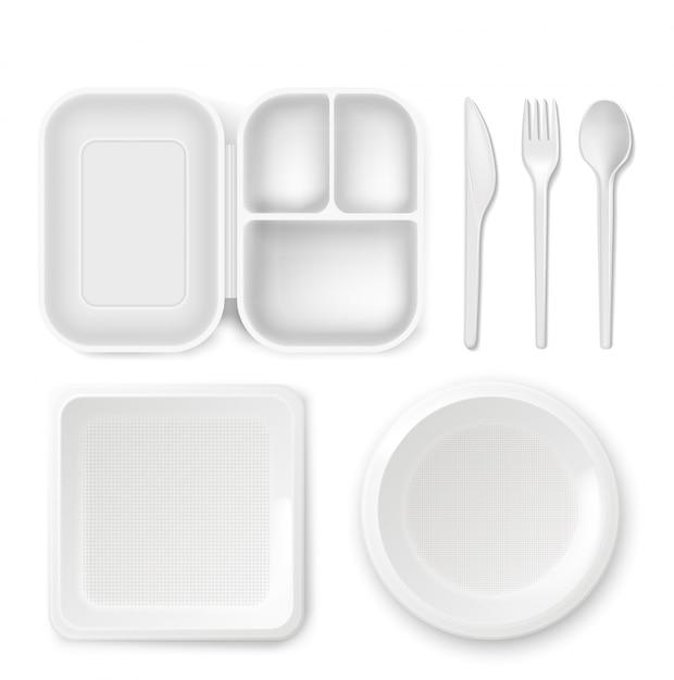 Assiettes et couverts en plastique jetables Vecteur gratuit
