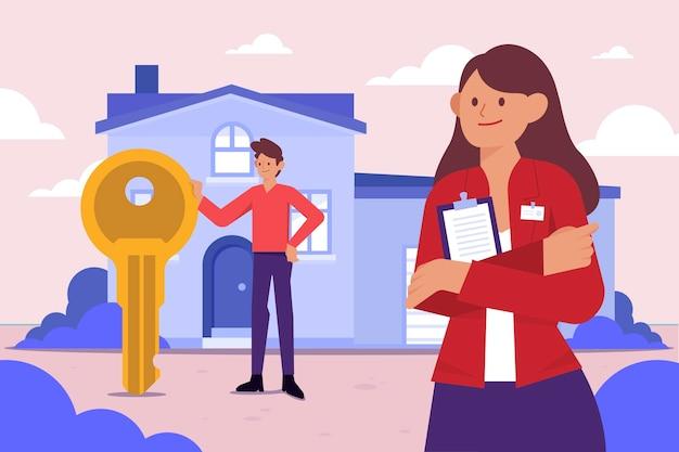 Assistance D'un Agent Immobilier Design Plat Avec Clé Vecteur gratuit