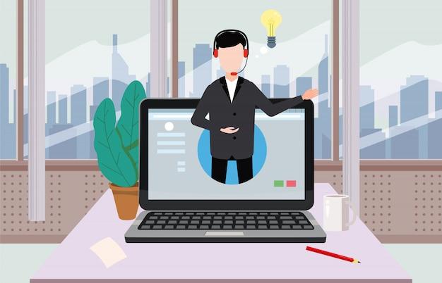 Assistant concept en ligne, client et opérateur, centre d'appels, support technique mondial en ligne 24 heures sur 24, 7 jours sur 7 Vecteur Premium