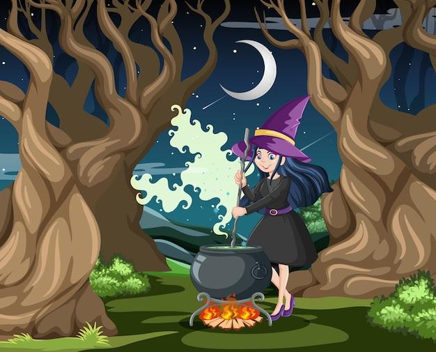 Assistant Ou Sorcière Avec Pot Magique Sur Fond De Forêt Sombre Vecteur gratuit