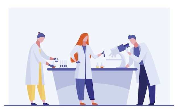 Assistants De Laboratoire Effectuant Des Recherches Vecteur gratuit