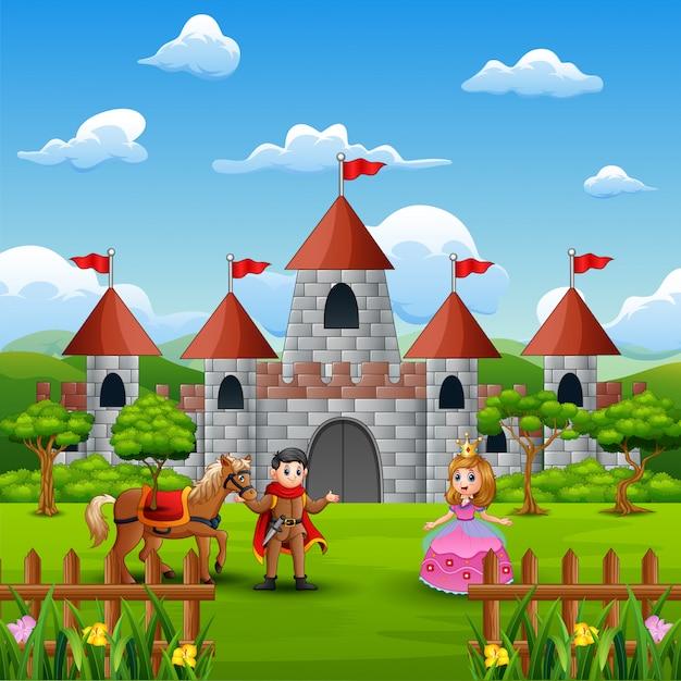 Associez une princesse et un prince devant le château Vecteur Premium