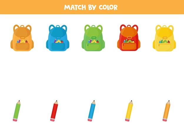 Associez Les Sacs à Dos Et Les Crayons D'école Par Couleur Vecteur Premium