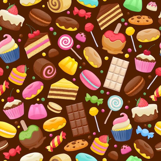 Assortiment de bonbons fond sans couture Vecteur Premium