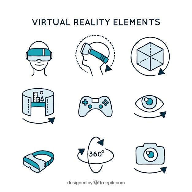 Assortiment d'éléments de réalité virtuelle Vecteur gratuit