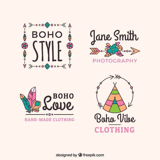 Assortiment De Logos Boho Avec De Grands Dessins Vecteur gratuit