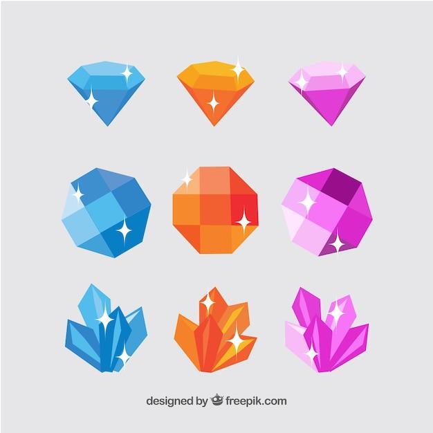 Assortiment plat de pierres précieuses colorées Vecteur gratuit