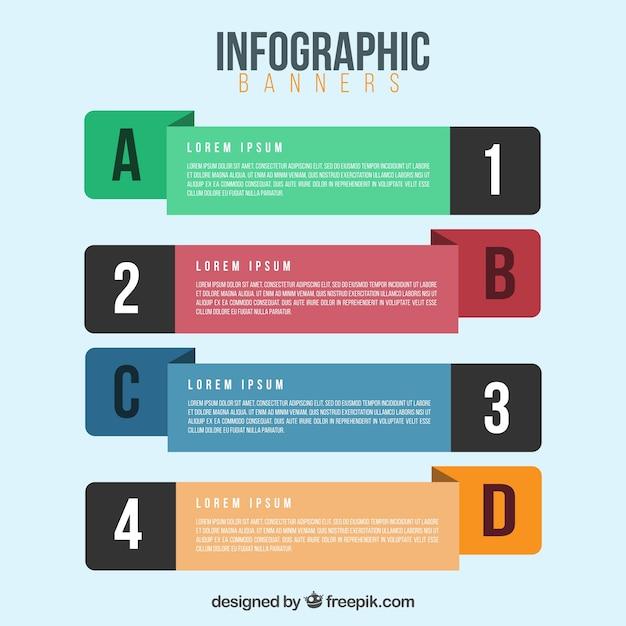 Assortiment de quatre bannières infographiques Vecteur gratuit