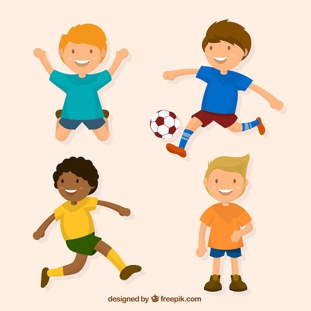 Assortiment de quatre enfants qui jouent dans la conception plate Vecteur gratuit