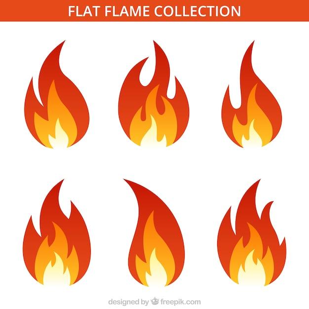 Assortiment De Six Flammes Plates Vecteur gratuit