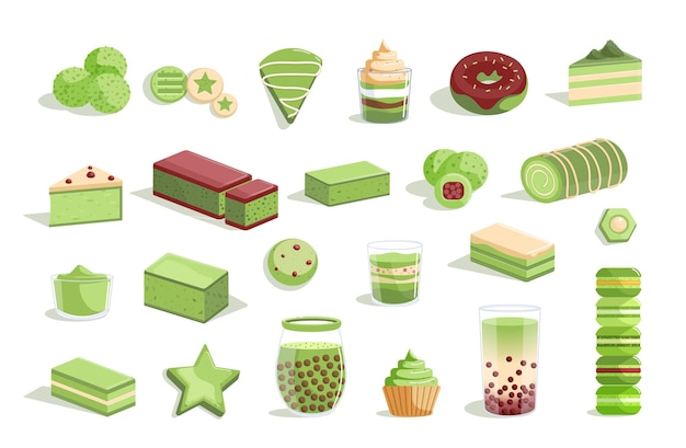 Assortiment De Thé Vert Matcha Et Dessert Sucré Vecteur Premium