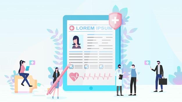 Assurance maladie et services médicaux vector plate Vecteur Premium