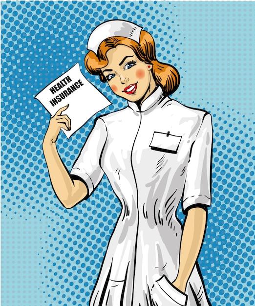 Assurance Médicale De Style Pop Art Vecteur Premium