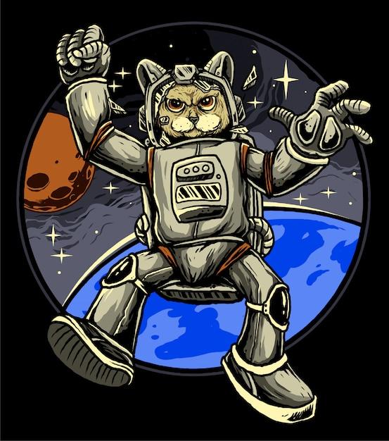 Astronaute De Chat Vecteur Premium