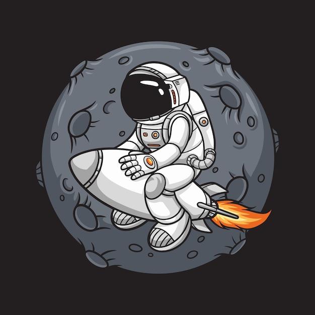 Astronaute Chevauchant Une Fusée Et Une Lune De Fond, Vecteur Premium
