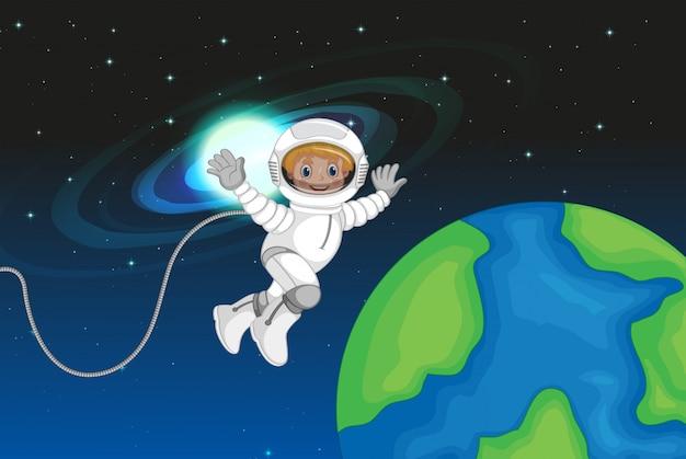 Un astronaute dans l'espace Vecteur gratuit