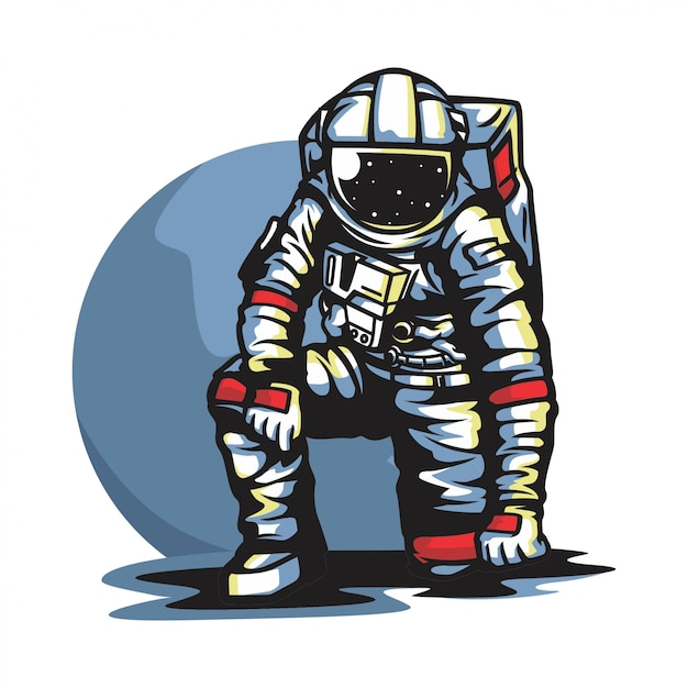 Astronaute Dans Le Vecteur De La Lune Vecteur Premium