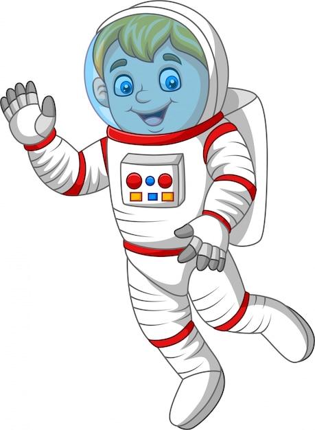 Astronaute dessin animé, agitant la main Vecteur Premium