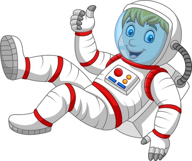 Astronaute de dessin animé donnant les pouces vers le haut Vecteur Premium