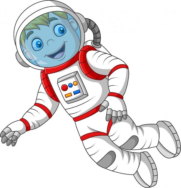 Astronaute de dessin animé isolé sur fond blanc Vecteur Premium