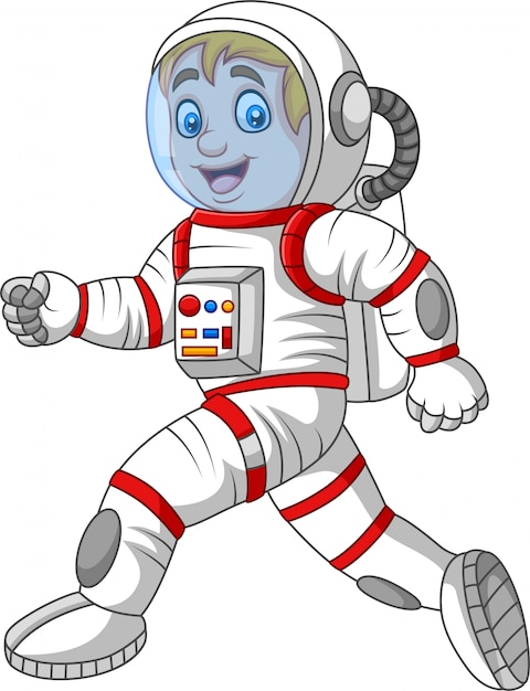 Astronaute dessin animé marchant isolé sur fond blanc Vecteur Premium
