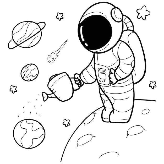 Astronaute Dessiné Main Mignon Vecteur Premium