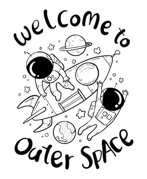 Astronaute dessiné à la main Vecteur Premium