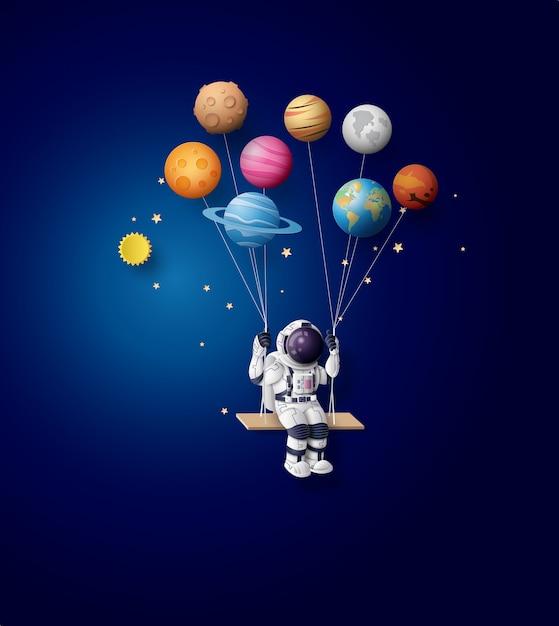 Astronaute Flottant Dans La Stratosphère. Papier D'art Et Style Artisanal. Vecteur Premium