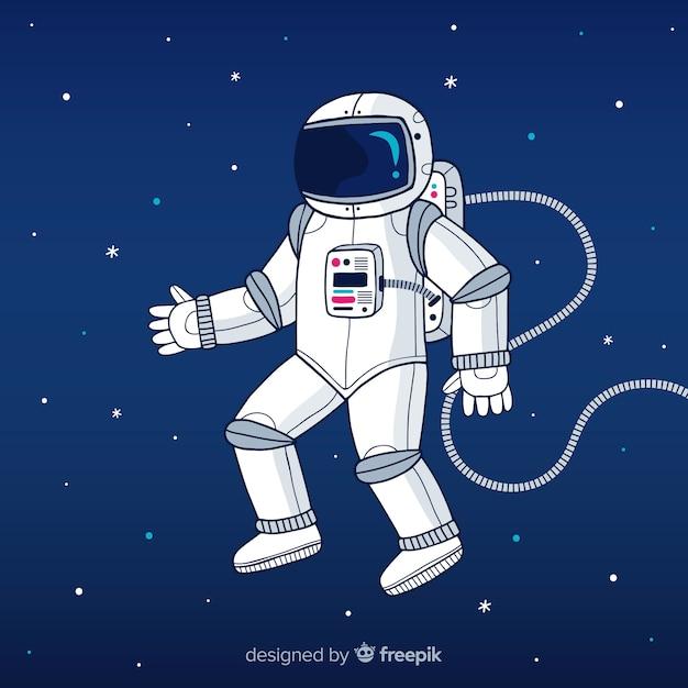 Astronaute sur fond de lune Vecteur gratuit