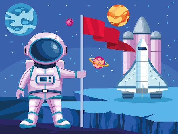 Astronaute Avec Illustration De Scène D'univers Spatial Drapeau Et Fusée Vecteur Premium