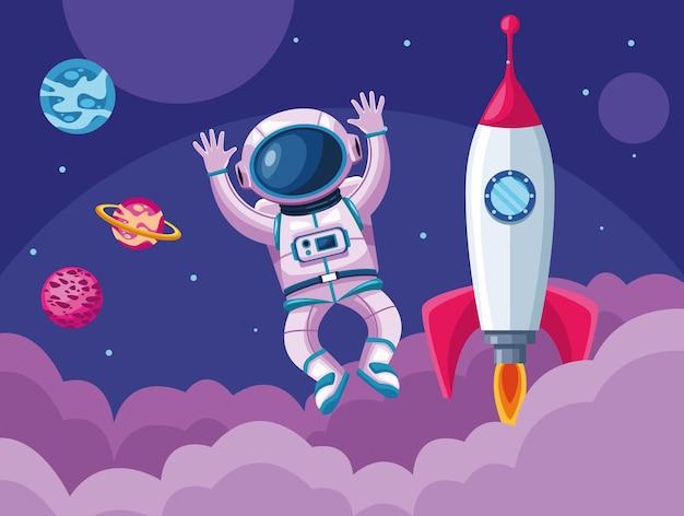 Astronaute Avec Illustration De Scène D'univers Spatial Fusée Et Planètes Vecteur Premium