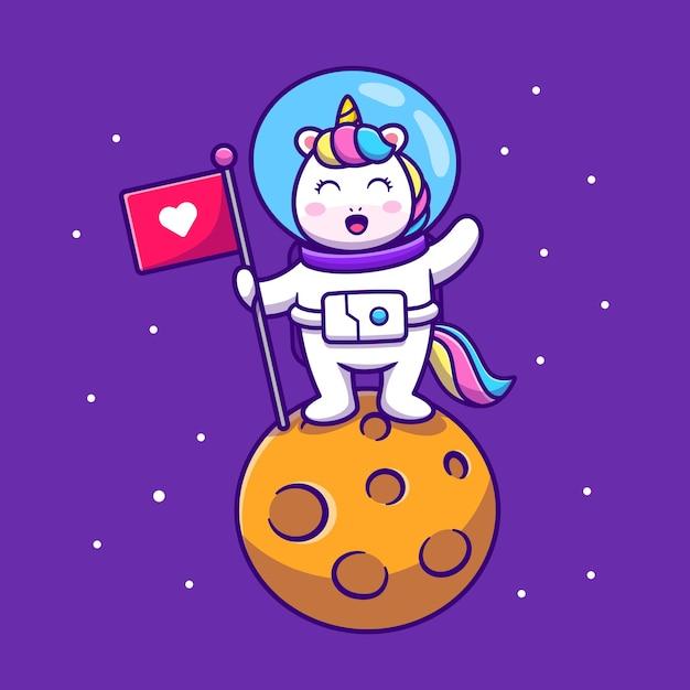 Astronaute Licorne Mignon Tenant Le Drapeau Sur L'illustration De L'icône De Dessin Animé De Planète Vecteur gratuit
