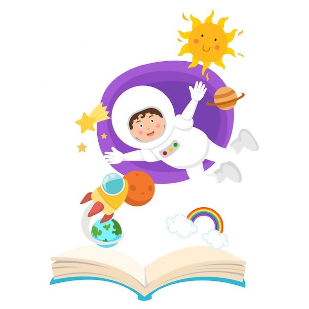 Astronaute à Livre Ouvert Dans Le Concept Spatial De Education.illustration Vecteur Premium